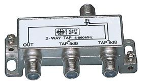 TV daliklis į 3 su 2 atšakom 8dB 5-1000MHz