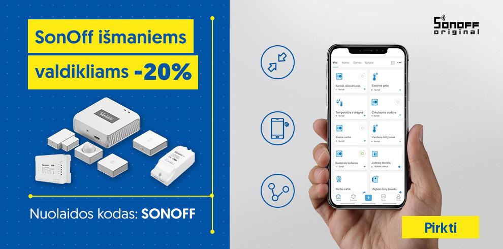SONOFF išmaniųjų namų prekėms -20%