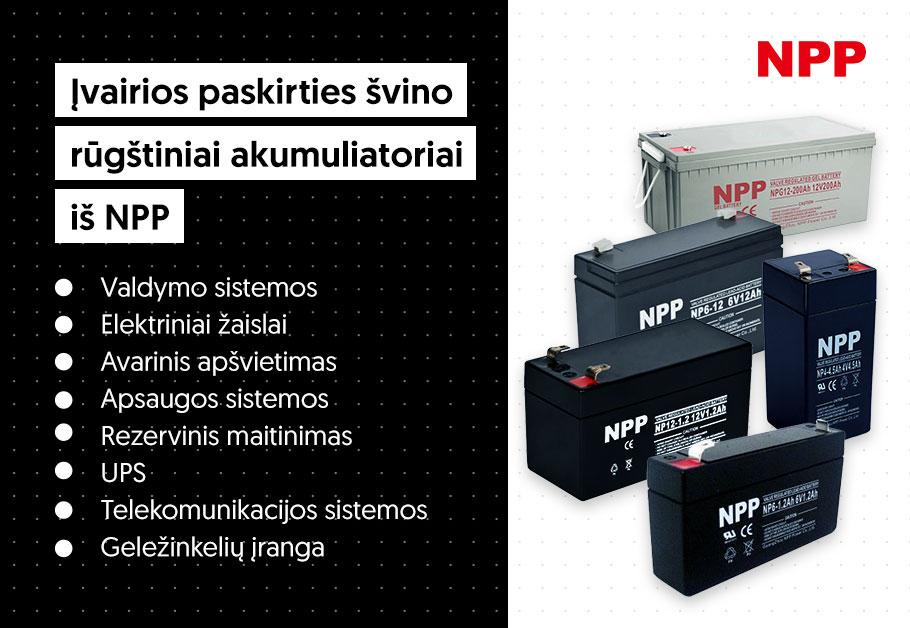 npp akumuliatorių privalumai