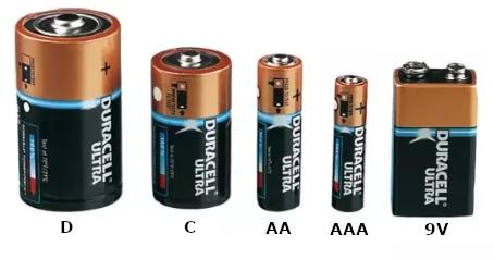 baterijų dydžiai